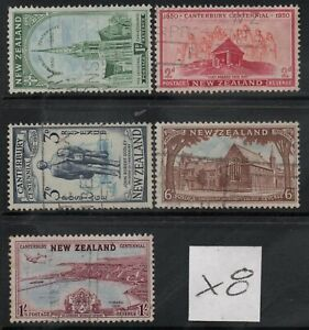 X8 ; NZ 1950 CANTERBURY CENTENNIAL ; COMPLETE SET/5 - FINE-USED