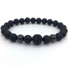 High Quality Matte Stone Beads And Black CZ Ball Men Charm Fashion Bracelets