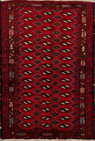 Nomadic Geometric Balouch Afghan Oriental Area Rug Wool Hand-Knotted 3x5 Carpet