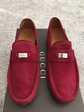 NEW Gucci Men's 353044 Leather Trademark Logo Drivers Loafers Shoes 5.5 G 6.5 US