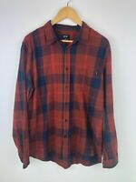 Oakley Button Front Long Sleeve Shirt Flannel Plaid Mens Large Red