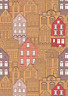 Lewis & Irene The Old Chocolate Shop Caramel Cotton A388.3 Quilt Fabric Houses