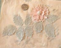 "Antique Swiss 1920s ""Pop Up"" Pink Floral Applique On Original Sample Page"