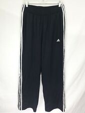 Mens Adidas Training Running Athletic Pants Lined Size L Black White Stripes