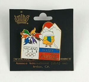 Vintage 1998 NAGANO OLYMPIC Games Coca Cola Hockey Pin/Badge On Original Card