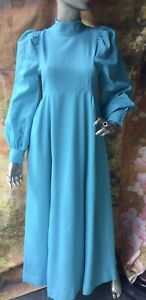 vintage 1970's turquoise bridesmaid dress Edwardian High Neck Style S Theatre