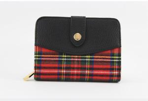 Ladies Inverness 3 Colours Tartan Check Cathy Foldable Flap Clip Button Closure