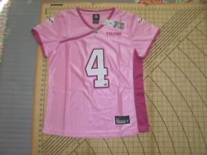 WOMENS LARGE PINK NFL VIKINGS LOVE FAVRE #4 JERSEY - NWT