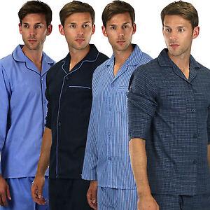 Mens Plain Poly Cotton Pyjama PYJAMAS Traditional gents button  Sizes s- xxxxl