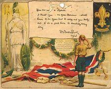 "ROBERT BADEN POWELL SCAUTISMO certificato 1914 Boy Scout 6x5"" RISTAMPA fotografica"