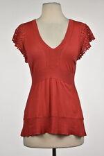 BCBG MaxAzria Womens Red Knit Top Sz XS Silk Short Sleeve Casual Shirt