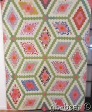 Country Cottage ! c 1930s Field of Diamonds Vintage Quilt Tumbling Flower Garden