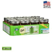 12 Pack 16 oz Pint Jars with Lids and Bands Ball Mason Wide Mouth