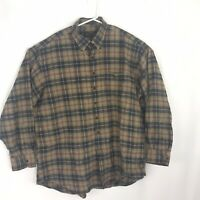 Orvis Mens Size XXL 2XL Button Down Heavy Cotton Long Sleeve Shirt Plaid Brown