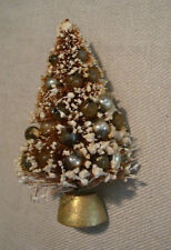 Vintage Flocked Bottle Brush Tree Christmas Lapel Pin Gold with Beads