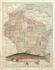 Rainbow Trout Unlimited Fly Fishing Club Wisconsin State Map Art Print MAP21