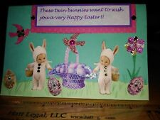 Origina Easter art. mixed media, collage Twin Googly Dolls Easter bunnies.OOAK