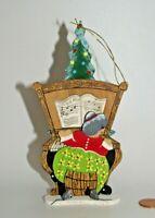 EMGEE Vintage Wood Christmas Ornament Mrs Santa Claus Playing Piano Schmid 1983
