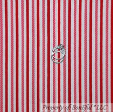 BonEful Fabric FQ Cotton Flannel Red White Pink STRIPE Candy Xmas Calico Girl US