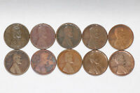 1911 S LINCOLN WHEAT CENT PENNY CULLS 10 COINS SAN FRANCISCO