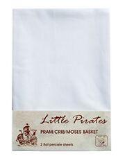 2 x Baby PramCrib Moses Basket White Flat Sheet 100 Luxury Brushed Cotton