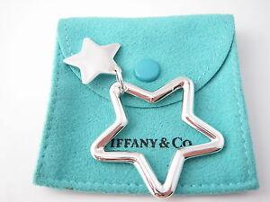 Tiffany & Co Silver RARE Double Star Key Ring Key Chain Keychain