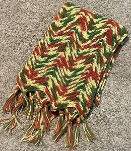 "VTG Crochet Throw Afghan Granny Blanket Chevron 80X48"" Fall Autumn Colors"