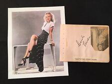 Original CAROLE LANDIS (d. 1948) Signed Album Page Autograph + Blue Barron
