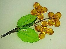 Vintage Pin Brooch French Glass Plastic ? Hand Beaded Wire Gold Flowers Leaves