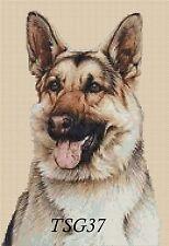 Cross Stitch Chart - German Shepherd Alsatian dog no. 196 free uk P&p..