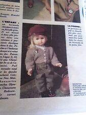 """T8 PATRON POUPEE EMILIE  MODES ET TRAVAUX"""""""" PANTALON DE GOLF   NOVEMBRE 1989"""