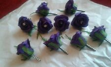 10 x PURPLE WEDDING BUTTONHOLES