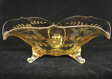 "Lancaster Glass Jubilee Yellow Three Toed Footed Bowl 11.5"" Etched Flowers Nice"