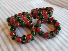 Vintage Red Green Beaded Glass Napkin Rings Holiday Christmas Set of 4
