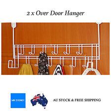 2x Over Door Hook Towel Clothes Coat Hanger Hooks Rack Holder Shelf Metal 28Hook