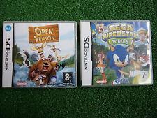 2 x COMPLETE NINTENDO DS NDS DSL DSi GAMES OPEN SEASON + SEGA SUPERSTARS TENNIS