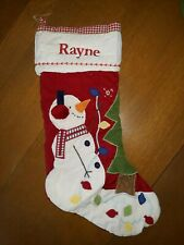 Pottery Barn Kids SNOWMAN Christmas Quilted Stocking RED  Monogram Rayne
