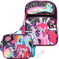 "My Little Pony Large School Backpack 16"" Book Bag Lunch Bag 2pc Set Black Pink"