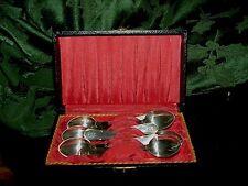 Antique Demi Tasse Salt Spoons Snuff Spoons Lot 6 Silver 4' Presentation Case