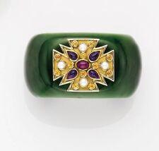 VERDURA Green Jade and Gem-set 'Maltese' Cuff Bracelet
