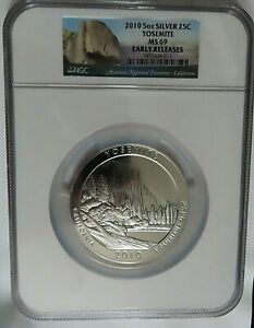 2010 YOSEMITE 5 OZ Silver AMERICA THE BEAUTIFUL 25C NGC MS69 EARLY RELEASES