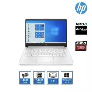"HP 14s-fq0017na Laptop AMD Athlon 3020E 4GB RAM 64GB 14"" Windows 10 S + 128GB"