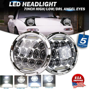 "Pair 7"" Chrome Round LED Headlights Hi-Lo Beam DRL for 1990-1997 Mazda Miata MX5"