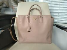 100% Authentic PRADA Tote Bag Beige Saffiano Leather Large size