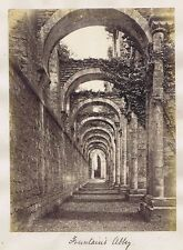 FOUNTAINS ABBEY Yorkshire - Antique Albumen Photograph c1890