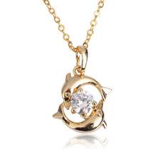 Nueva moda mujeres Dolphin 18k chapado en oro collar colgante cadena de joyería