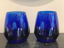 Sevres France Madame Stanislas Pattern Cobalt Blue Tumblers Set of 2