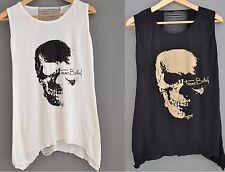 Skull Logo Tank Vest Top Womens Ladies Rock Punk Goth Metal Grunge Emo Vest BN