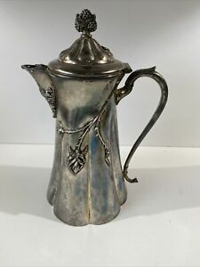 Antique E. G. Webster Silver Plate Coffee Pot Roses