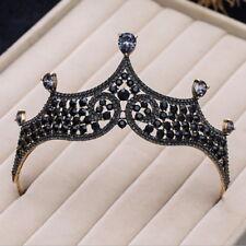 Elegant All Black Crystal Drip Wedding Bridal Party Pageant Prom Tiara Crown